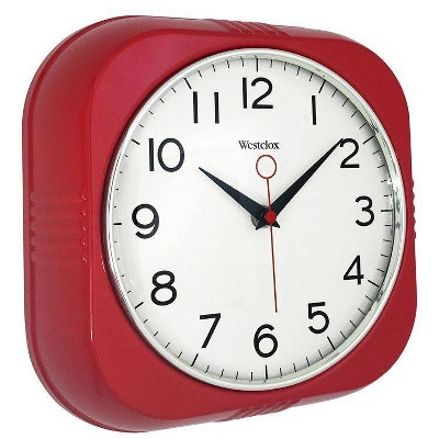 "9.5"" Retro Wall Clock Red - Westclox"