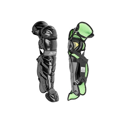 All-Star Sports S7 LG1216S7X-BK Axis Baseball Catcher Leg Guards Protective Gear for Ages 12 to 16 Years with LINQ Hinge System and D3O Padding, Black