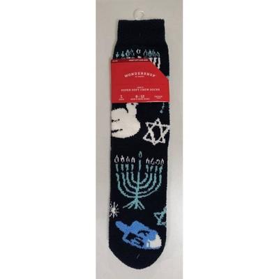 Men's Hanukkah Cozy Crew Socks with Giftcard Holder - Wondershop™ Navy 6-12