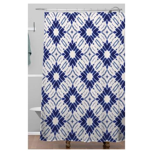 Mosaic Diamond Shower Curtain Blue