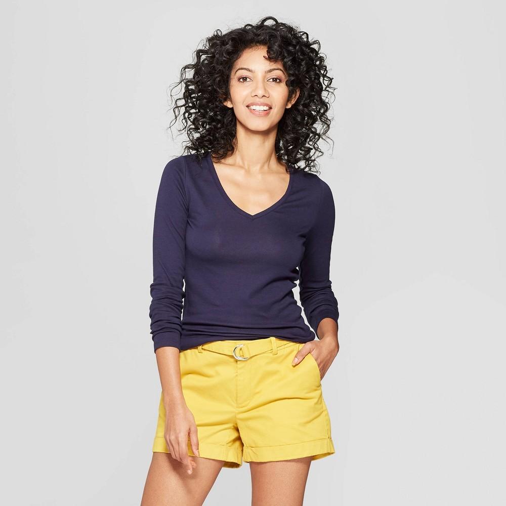 Women's Regular Fit Long Sleeve V-Neck T-Shirt - A New Day Navy (Blue) M