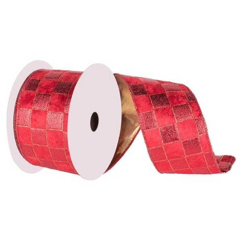 "Check Gold Lame Ribbon Red 4"" x 10 yards - image 1 of 2"