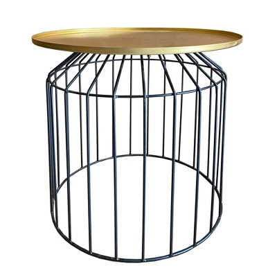 Round Tray Top Metal Accent Side End Table with Tubular Wire Frame Gold/Black - Benzara