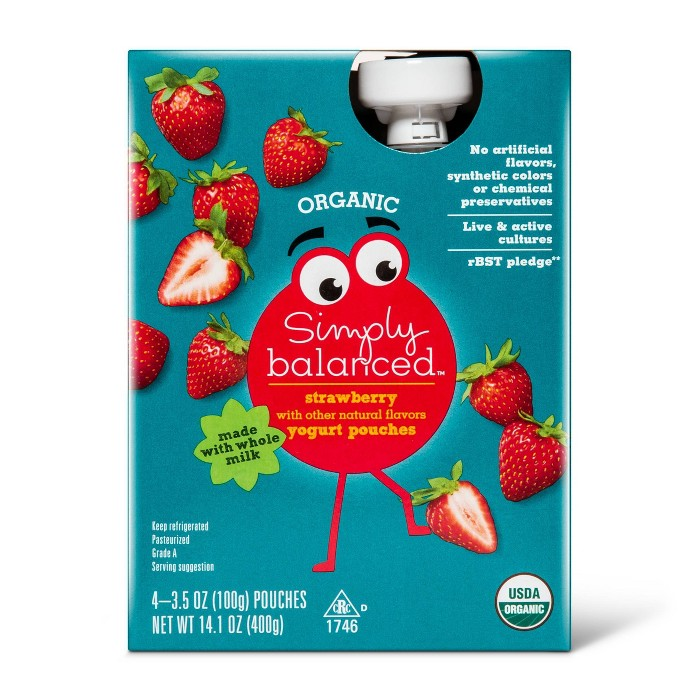 Organic Strawberry Natural Flavored Kids' Yogurt Pouches - 4pk/3.5oz Pouches - Simply Balanced™ - image 1 of 1