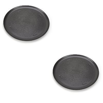 T-Fal AirBake Non Stick 15.75-Inch Diameter Round Aluminum Pizza Pan Oven Baking Sheet Cookware Bakeware Tray for Cooking Pizzas, Dark (2 Pack)
