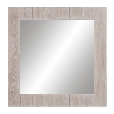 24 x24  Wood Plank Square Wall Accent Mirror White - Patton Wall Decor