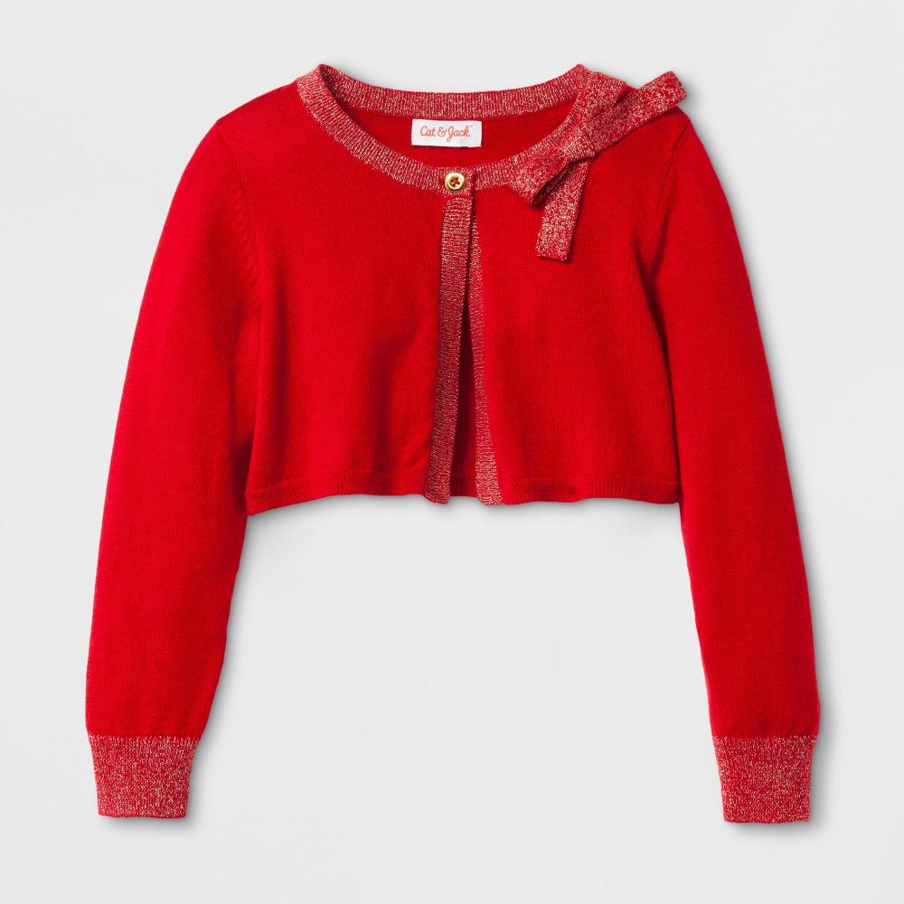 Toddler Girls Cropped Cardigan Cat Jack 8482 Red 5t