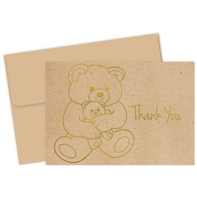 """50ct Teddy Bear """"Thank You"""" Note Card Natural"""