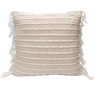 "20""x20"" Single Linear Tassel Throw Pillow Cream - Lush Décor"