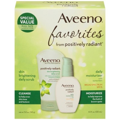 Aveeno Positively Radiant Gift Set Face Scrub and Moisturizer - Set of 2