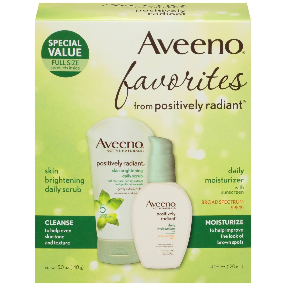 Image of Aveeno Positively Radiant Gift Set Face Scrub And Moisturizer - Set of 2