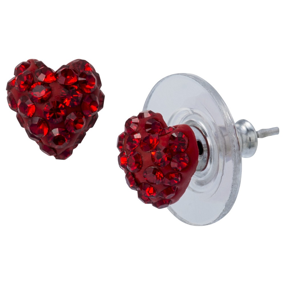 Sterling Silver Heart Stud Earring - Red