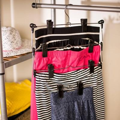 4-Tier Fold Up Skirt Hanger - Chrome/Black (2pk)