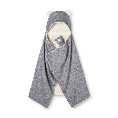 Hooded Blanket & Rattle - Cloud Island™ Performance Gray