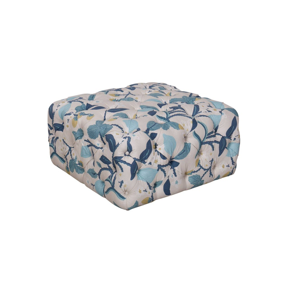 Large Square All Over Tufted Ottoman Modern Floral Blue - HomePop was $339.99 now $254.99 (25.0% off)