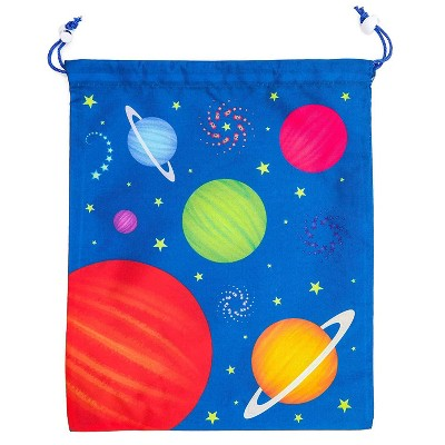 12 Pack Outer Space Kids Party Favor Bags Drawstring Gift Bag for Girls Boys