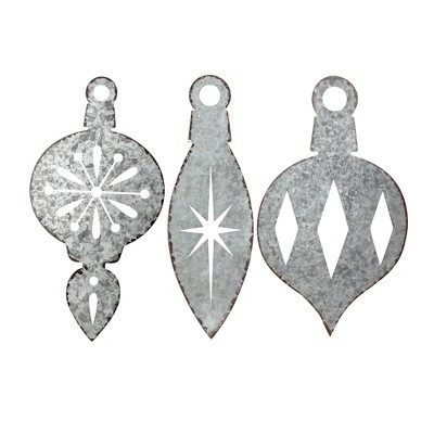 """Napco Set of 3 Weathered Galvanized Finial Ornament Christmas Wall Decorations 16"""""""