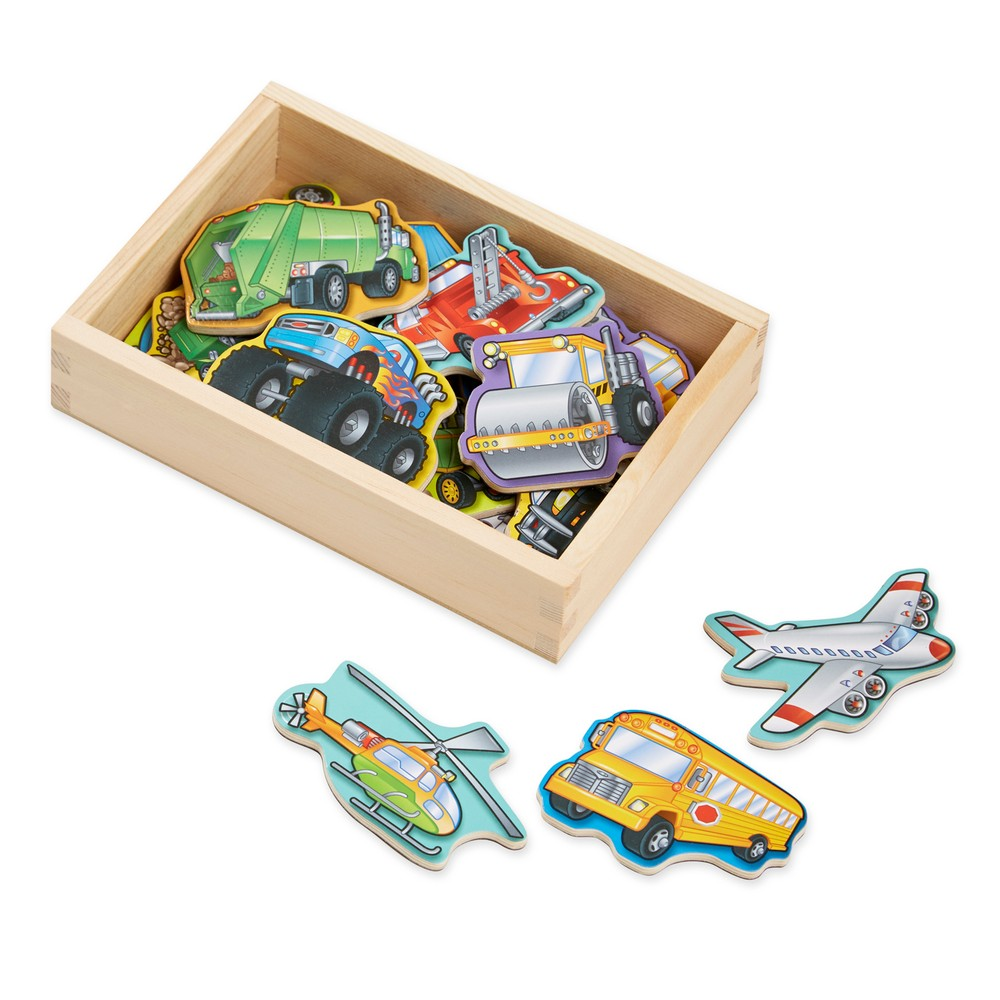 Melissa & Doug Wooden Vehicle Magnets with Wooden Tray - 20pc