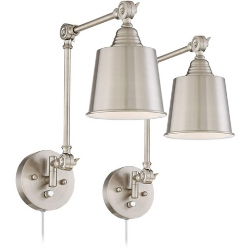 360 Lighting Modern Wall Lamps Plug In Set of 2 Brushed Nickel for Bedroom Living Room Reading - image 1 of 4