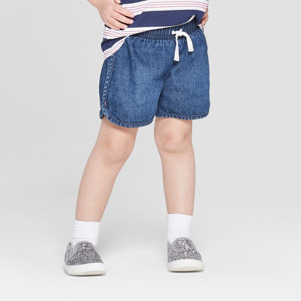 Toddler Girls' Woven Pull-On Shorts - Cat & Jack Dark Blue 2T