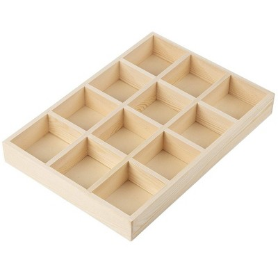 Juvale Wooden Drawer Organizer with 12 Compartments (13.2 x 9.2 in.)