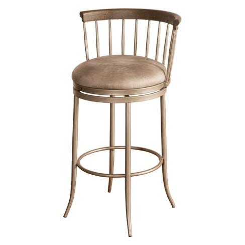32 Cortez Swivel Bar Stool Pewter Espresso Gray Hilale Furniture