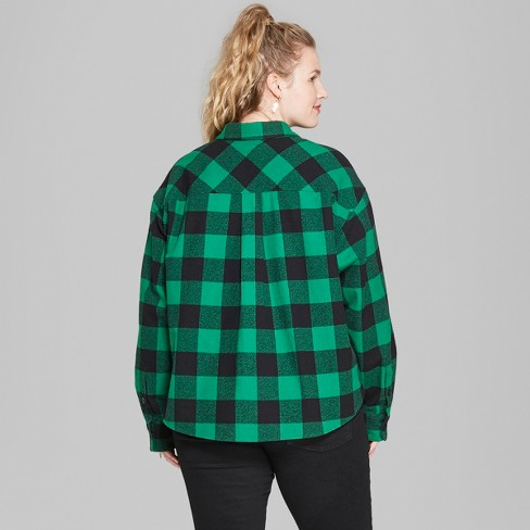 cac0ce35 Women's Plus Size Long Sleeve Cropped Plaid Button-Down - Wild Fable™ Forest  Green 3X : Target