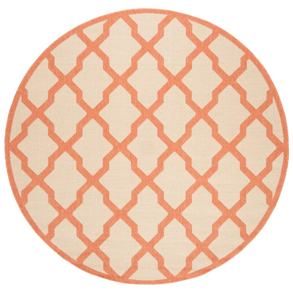 67 Geometric Loomed Round Area Rug Cream/Rust - Safavieh Compare