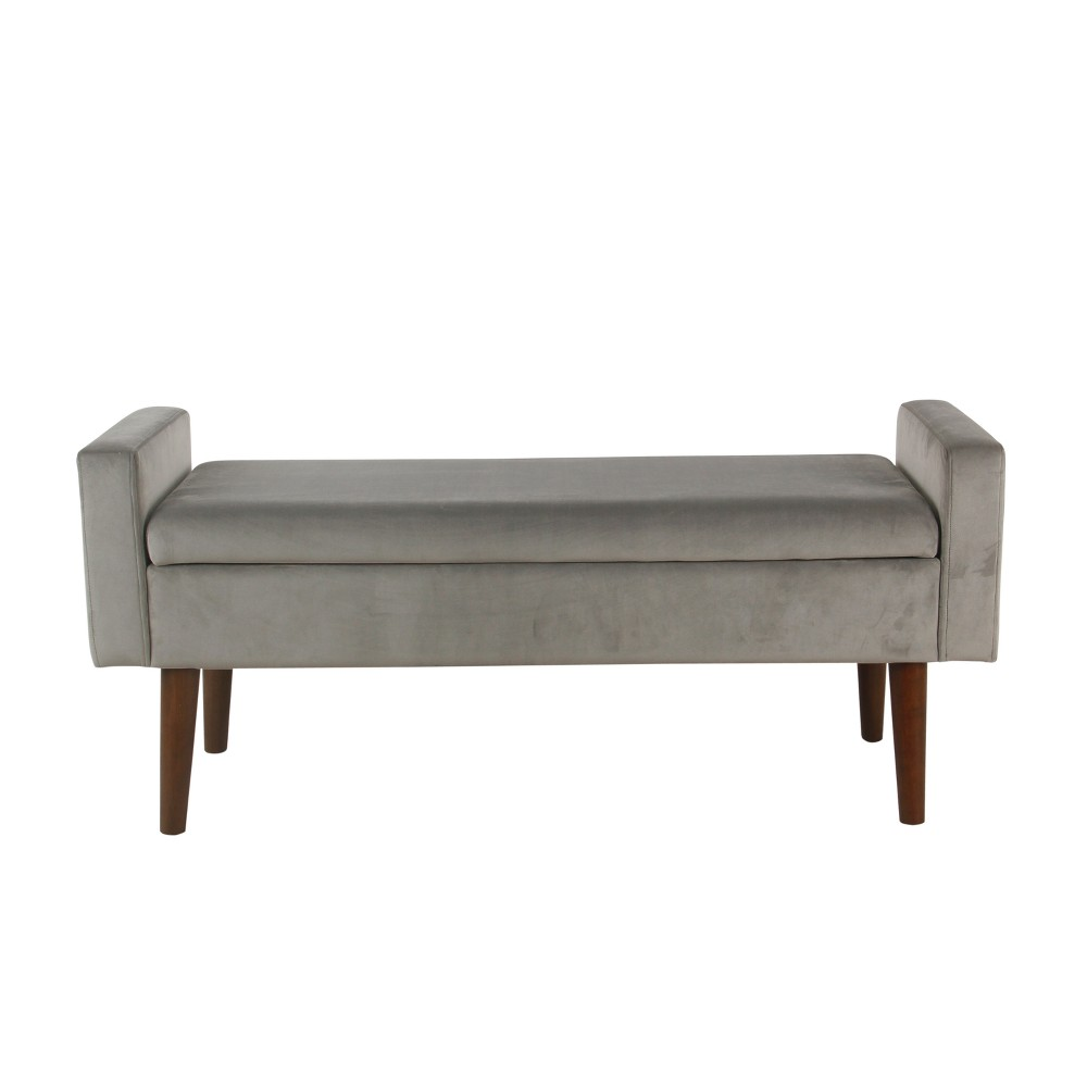 Fulton Velvet Storage Bench Gray - Homepop was $234.99 now $187.99 (20.0% off)