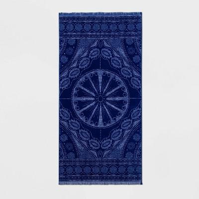 XL Jacquard Medallion Beach Towel Blue - Opalhouse™