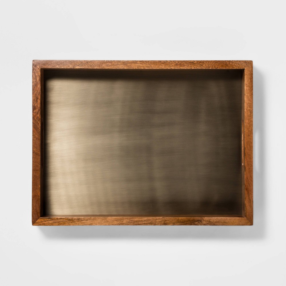 "Image of ""15.7"""" x 11.7"""" Wood and Brass Rectangle Tray Gold/Brown - Threshold"""
