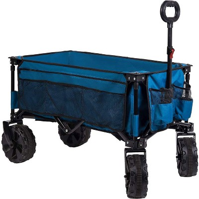 Timber Ridge TR-21727-BLUE 4.5 Cubic Foot Steel Frame Large Capacity All Terrain Foldable Collapsible Camping Storage Wagon, Blue