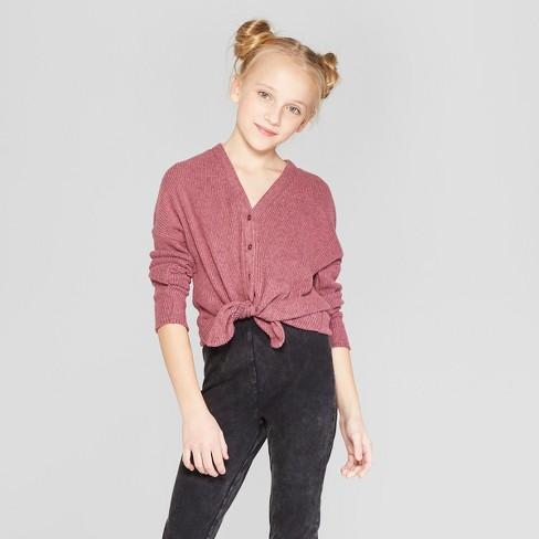 205a0215e88 Girls  Cardigan Sweater - Art Class™ Maroon   Target