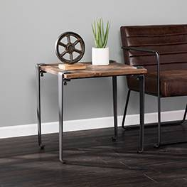 Talvia Square Reclaimed Wood End Table Brown - Aiden Lane