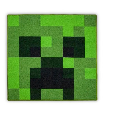 3'x3' Square Accent Rug Green - Minecraft