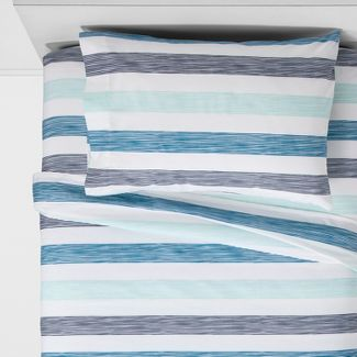 Twin Rugby Cotton Sheet Set Crystal Green - Pillowfort™