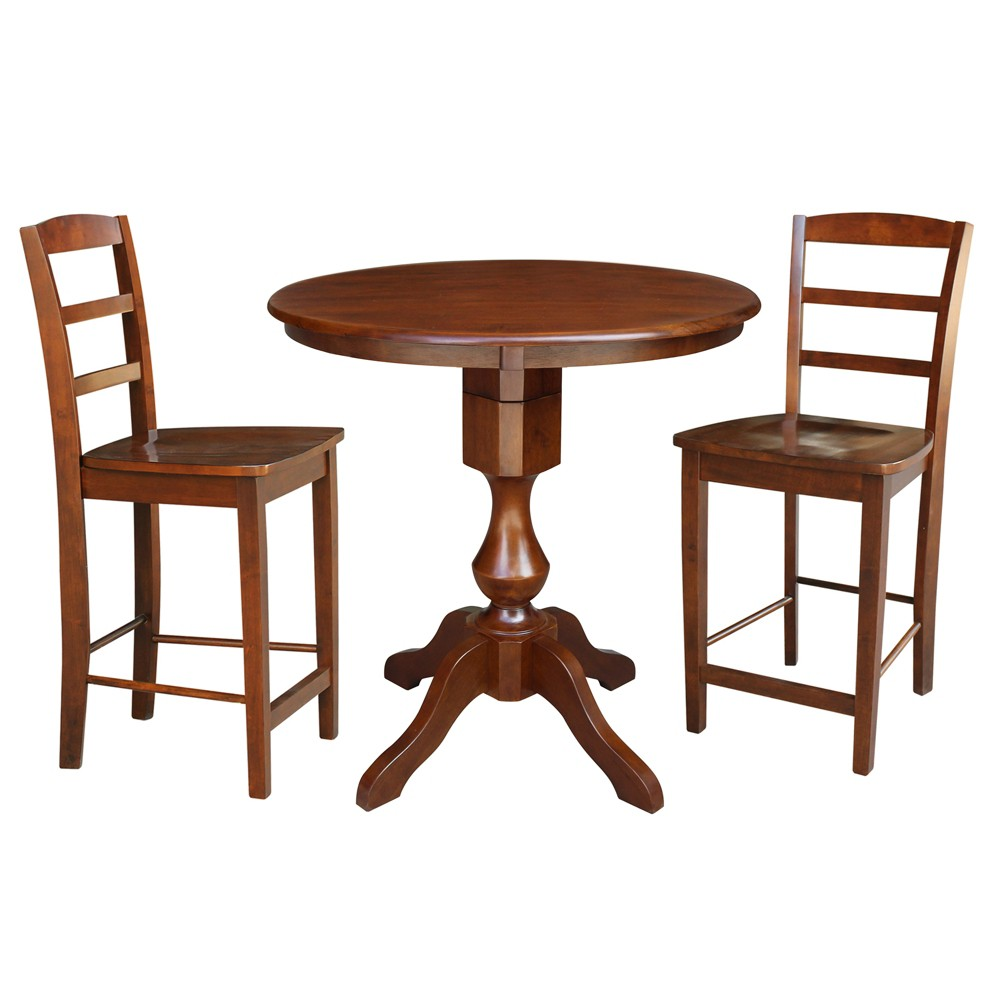 36 3pc George Round Pedestal Gathering Height Table with 2 Stools Set Espresso - International Concepts, Brown