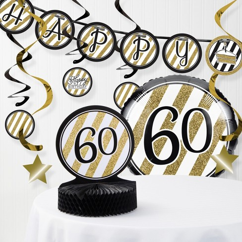 60th Birthday Party Decorations Kit Black Gold Target