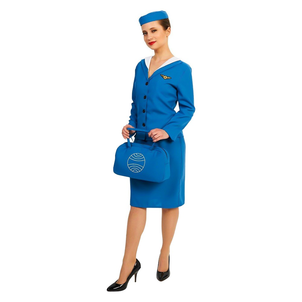 Image of Halloween Women's Retro Glam Airline Stewardess Costume Kit S, Size: Small, MultiColored
