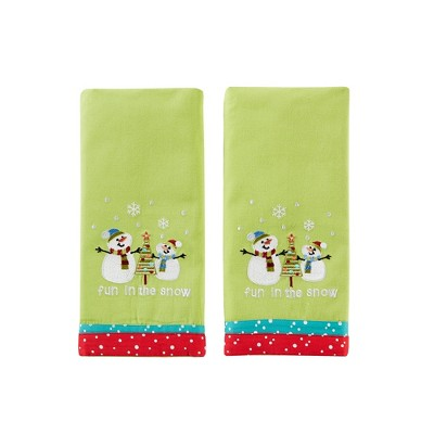 "SKL Home Fun In The Snow Snowmen Embroidered Red & White Polka 2-Piece Dish Towel Set 16x26"", Multi"