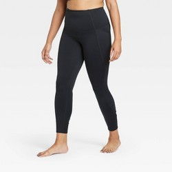 "Women's Contour High-Rise Shirred 7/8 Leggings with Power Waist 25"" - All in Motion™"