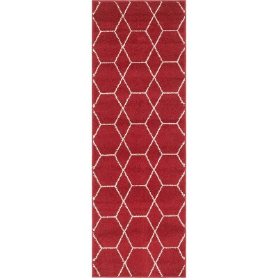 Geometric Trellis Frieze Rug Red/White - Unique Loom