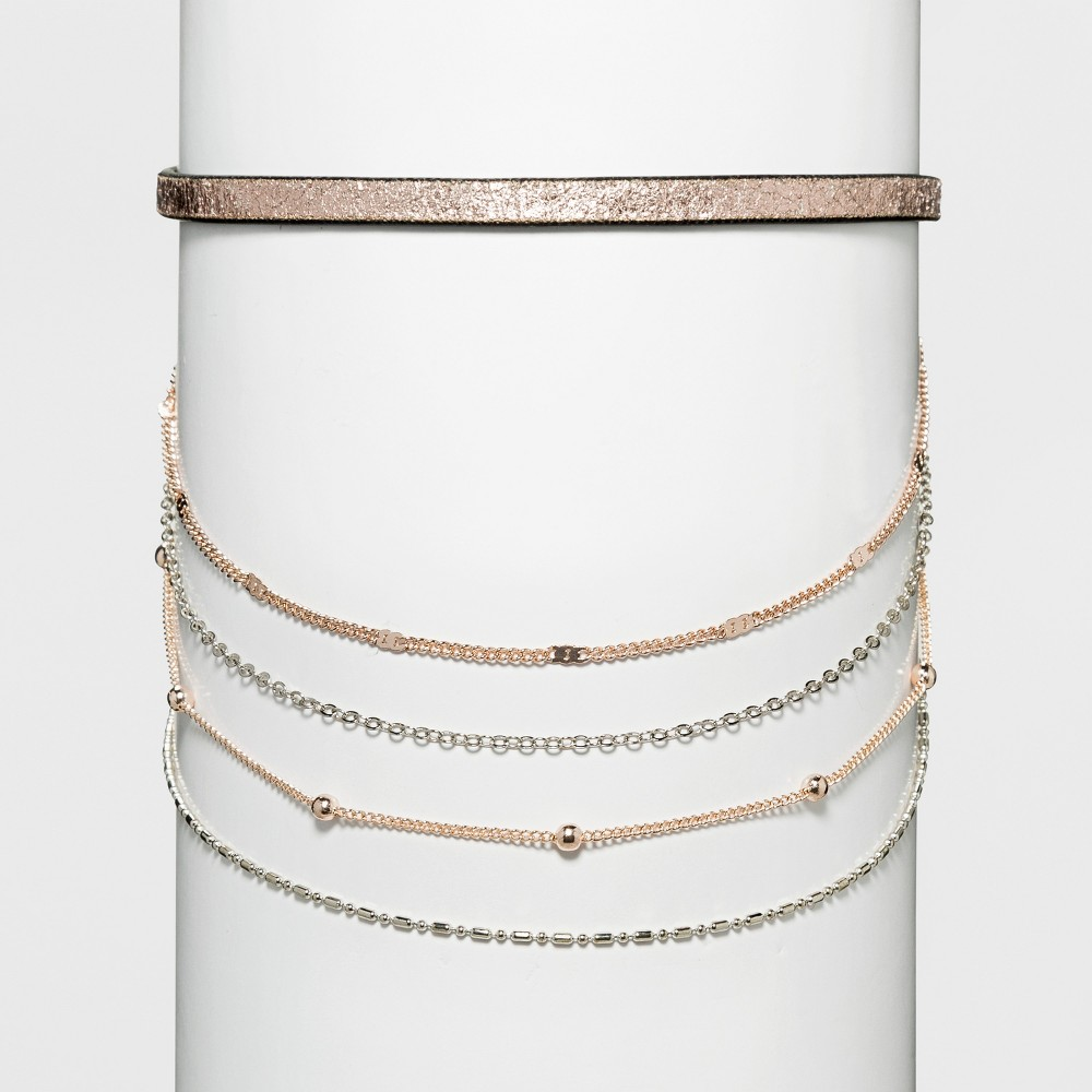 Women's Necklace Layered Choker with Metallic Simulated Leather, Multi-Colored