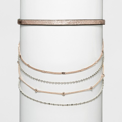 Women's Necklace Layered Choker with Metallic Simulated Leather - image 1 of 3