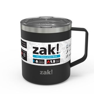 Zak! Designs 13oz Double Wall Stainless Steel Camp Mug - Black