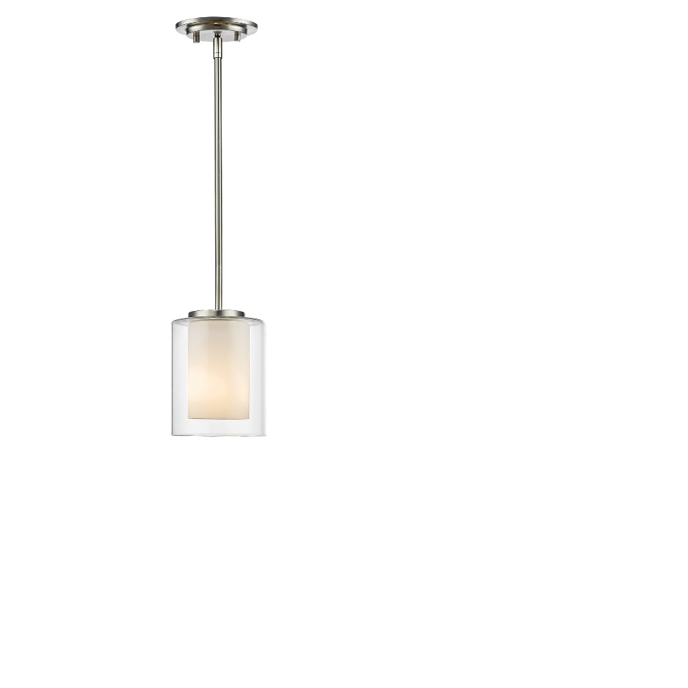 Mini Pendant with Clear Outside; Matte Opal Inside Glass Ceiling Lights - Z-Lite