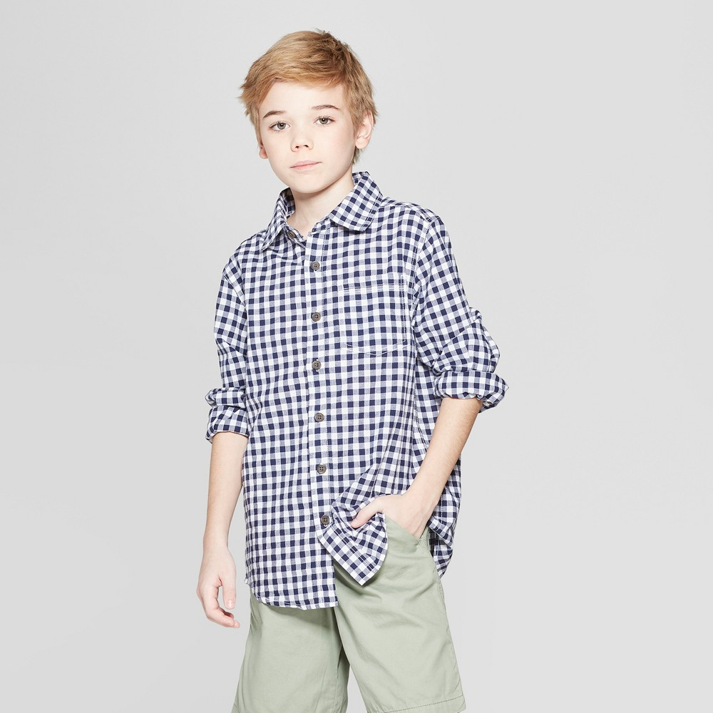 Boys' Gingham Long Sleeve Button-Down Shirt - Cat & Jack Navy L, Blue