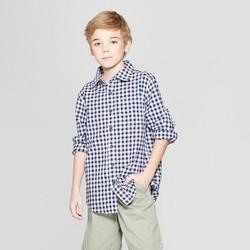 Boys' Gingham Long Sleeve Button-Down Shirt - Cat & Jack™ Navy