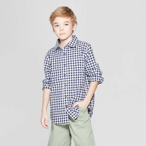 f143cdead Boys' Gingham Long Sleeve Button-Down Shirt - Cat & Jack™ Navy : Target