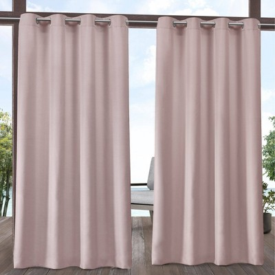"""Set of 2 120""""x54"""" Solid Cabana Grommet Top Light Filtering Curtain Panels Blush Pink - Exclusive Home"""